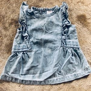 Infant Girls Denim Ruffle Sleeveless Top
